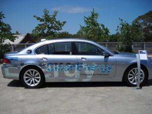 The concept BMW hybrid hydrogen car is currently in Melbourne as part of its world tour.