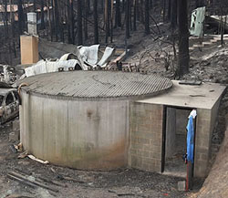 A fire bunker built from a converted water tank in Kinglake, Victoria.