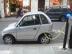A G-Wiz recharging at a charging station in London, also known as a Juice Point.