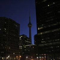Toronto's famous skyline during Earth Hour 2008