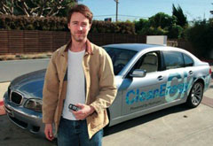 Edward Norton with his new BMW Hydrogen 7.