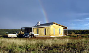 Almost finished strawbale house in Merrimu, outside of Melbourne, Australia.