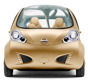 The 'treelike' Nissan Nuvu concept car, on show in Paris.