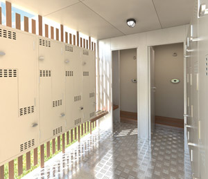 The self-cleaning interior of the Green Pod, bike storage and shower unit.