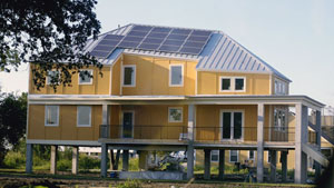 One of the first sustainable homes to completed in New Orleans as a part of the Make It Right Foundation project, spearheaded by Brad Pitt.