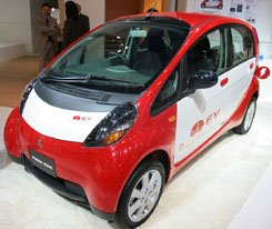 The Mitsubishi MiEV compact electric car, soon to be released in Japan.