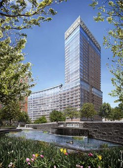 Riverhouse apartments, eco-friendly living at One Rockefeller Park in New York.