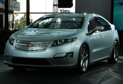 GM Volt plug in electric vehicle- approaching assembly. Production model shown.